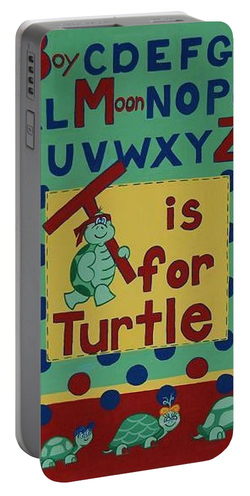 Alphabet Portable Battery Charger featuring the painting T Is For Turtle by Valerie Carpenter