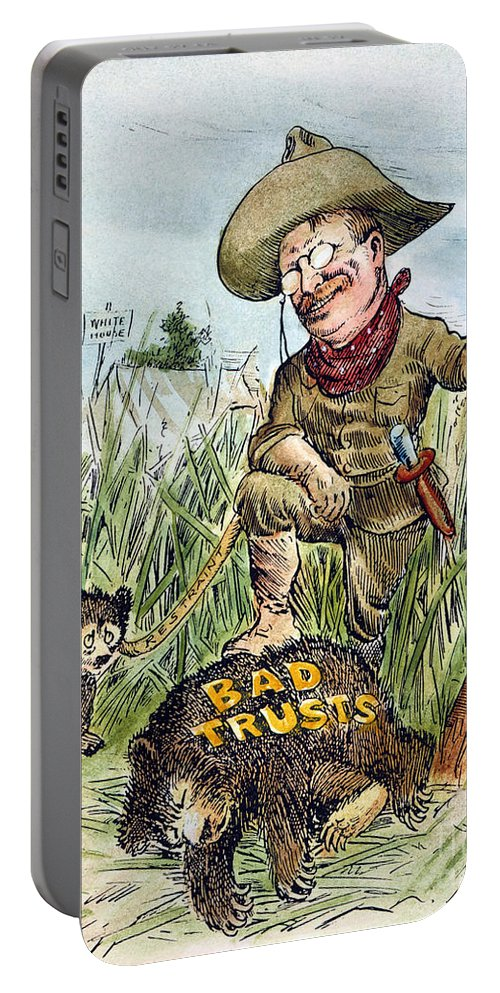 1909 Portable Battery Charger featuring the photograph T. Roosevelt Cartoon, 1909 by Granger