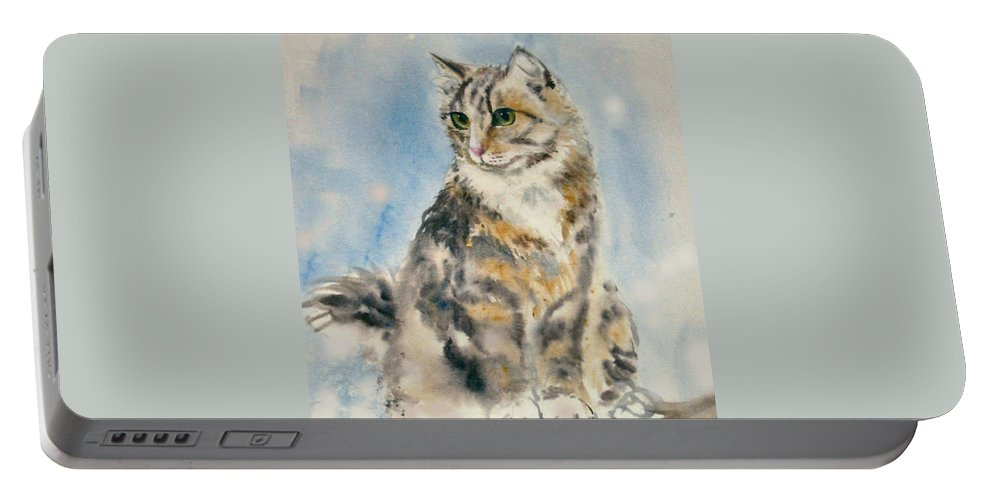 Cat Painting. Original.tabby Cat Portable Battery Charger featuring the painting Tabby Cat by Frances Gillotti