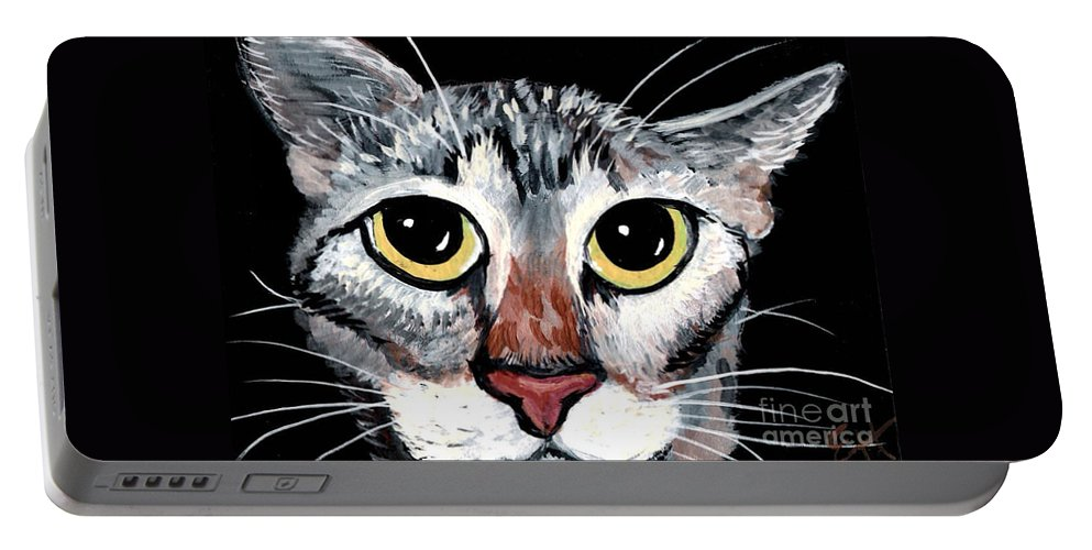 Cat Portable Battery Charger featuring the painting Tabby Eyes by Elaine Hodges