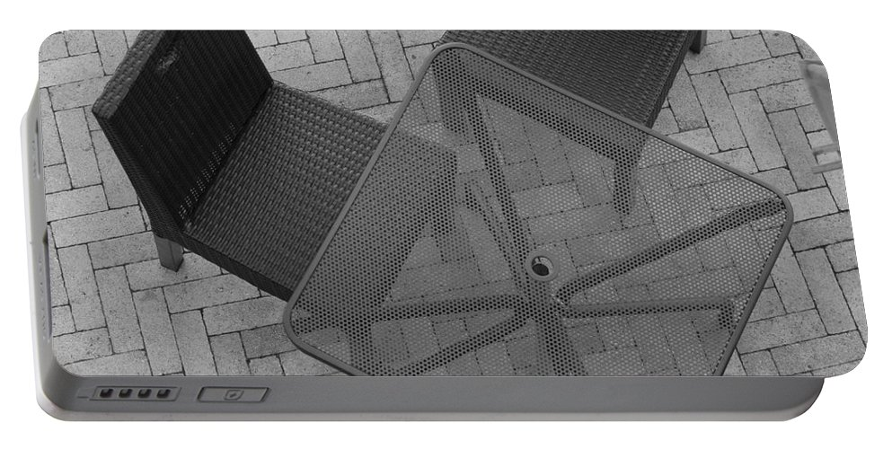 Table Portable Battery Charger featuring the photograph Table Chairs From Above by Rob Hans