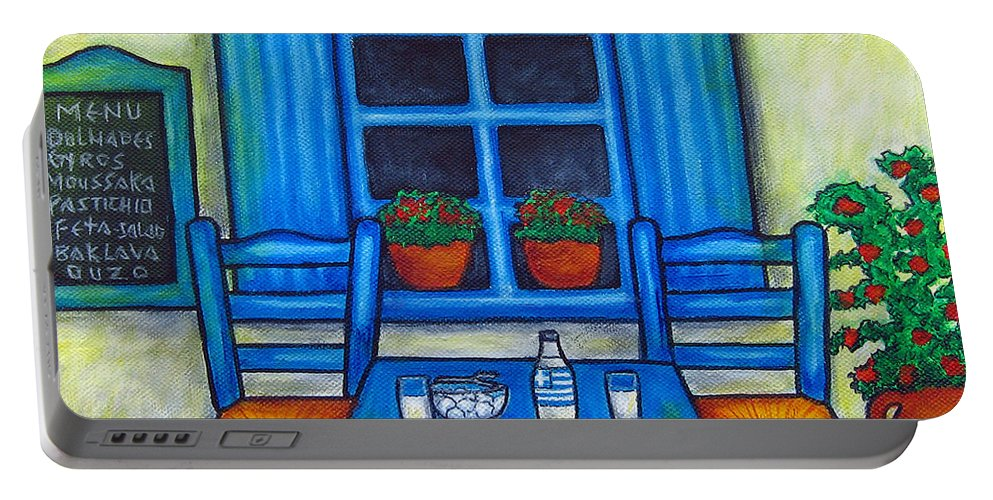 Blues Portable Battery Charger featuring the painting Table for Two in Greece by Lisa Lorenz