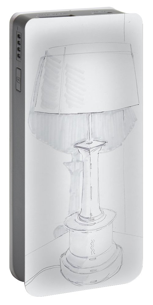 A Quiet Corner Portable Battery Charger featuring the drawing Table Lamp Drawing - A Quiet Corner by Mike Jory