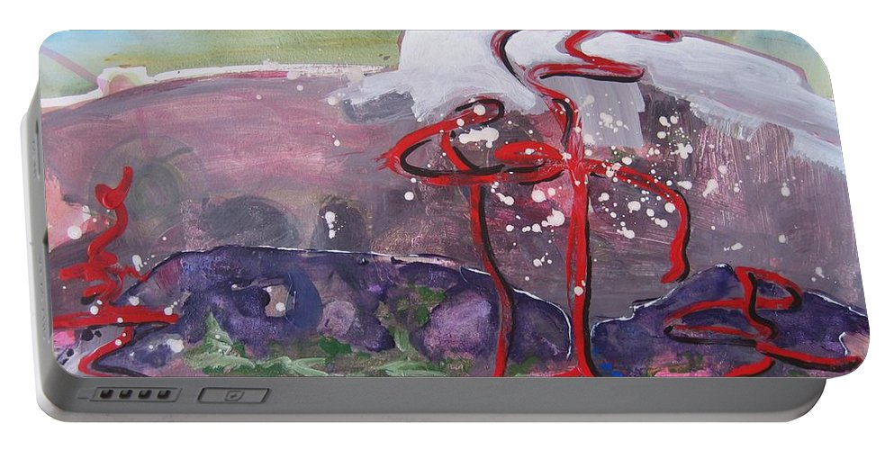 Abstract Paintings Portable Battery Charger featuring the painting Table Land3 by Seon-Jeong Kim