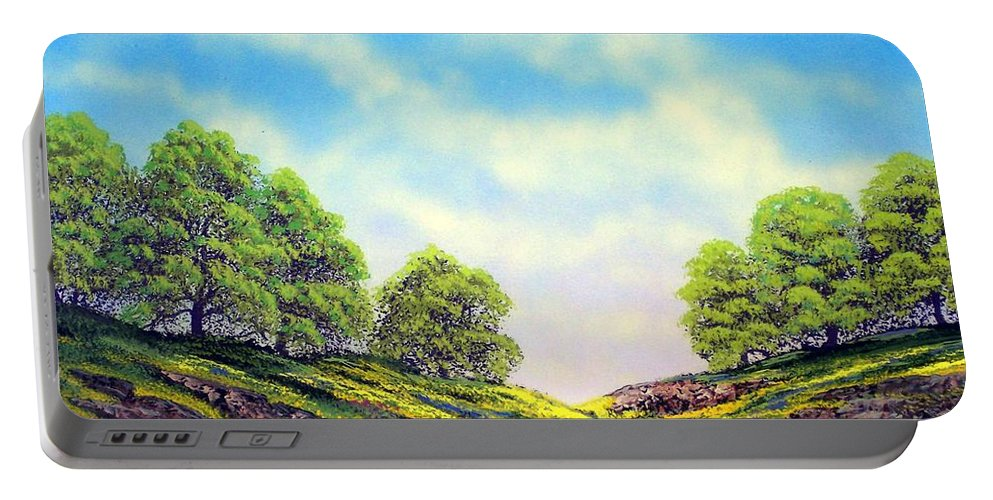 Mountains Portable Battery Charger featuring the painting Table Mountain by Frank Wilson