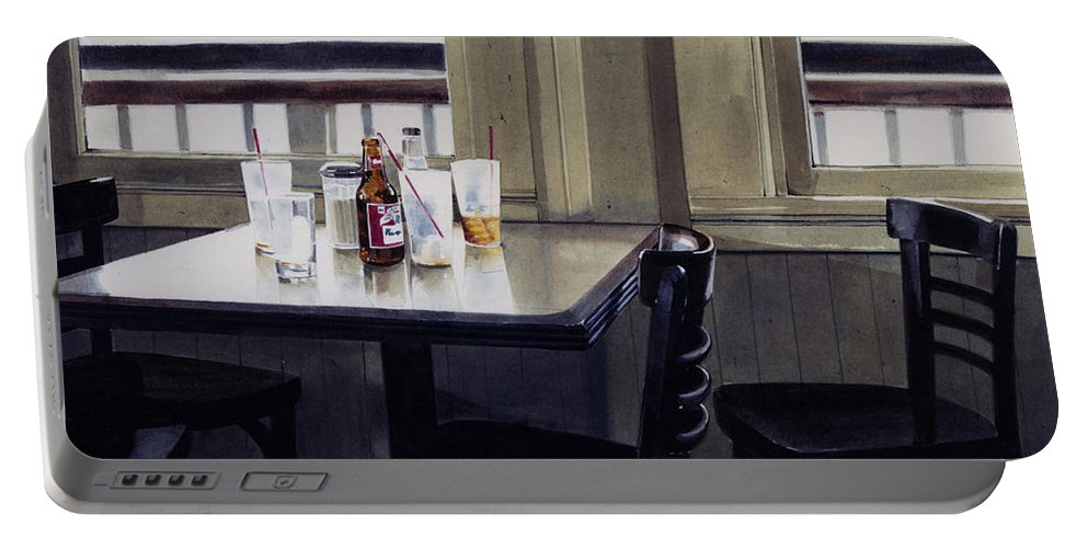 Beer Portable Battery Charger featuring the painting Table Setting by Denny Bond