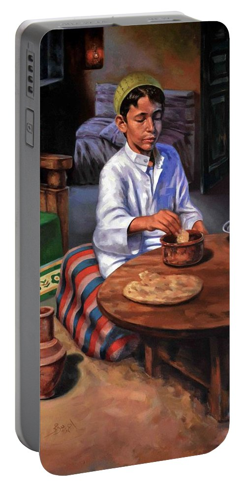 Farm Portable Battery Charger featuring the painting Tablia Table by Ahmed Bayomi
