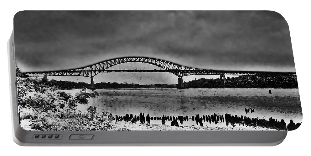 Philadelphia Portable Battery Charger featuring the photograph Tacony Palmyra Bridge In B And W by Bill Cannon