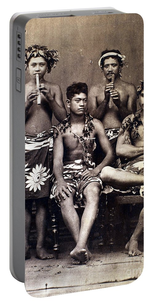 1890 Portable Battery Charger featuring the photograph Tahiti: Men, C1890 by Granger