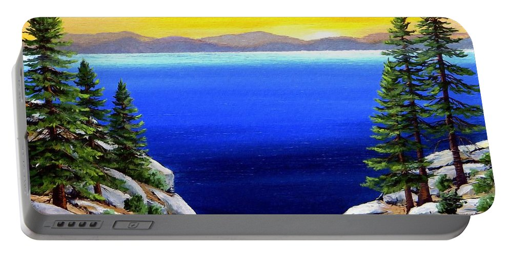 Lake Tahoe Portable Battery Charger featuring the painting Tahoe Morning by Frank Wilson