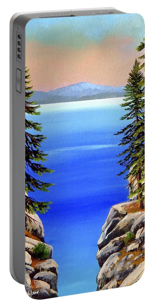 Lake Tahoe Portable Battery Charger featuring the painting Tahoe Notch by Frank Wilson
