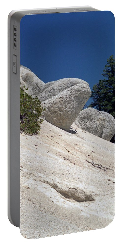 Abstract Portable Battery Charger featuring the photograph Tahoe Rocks by Richard Rizzo
