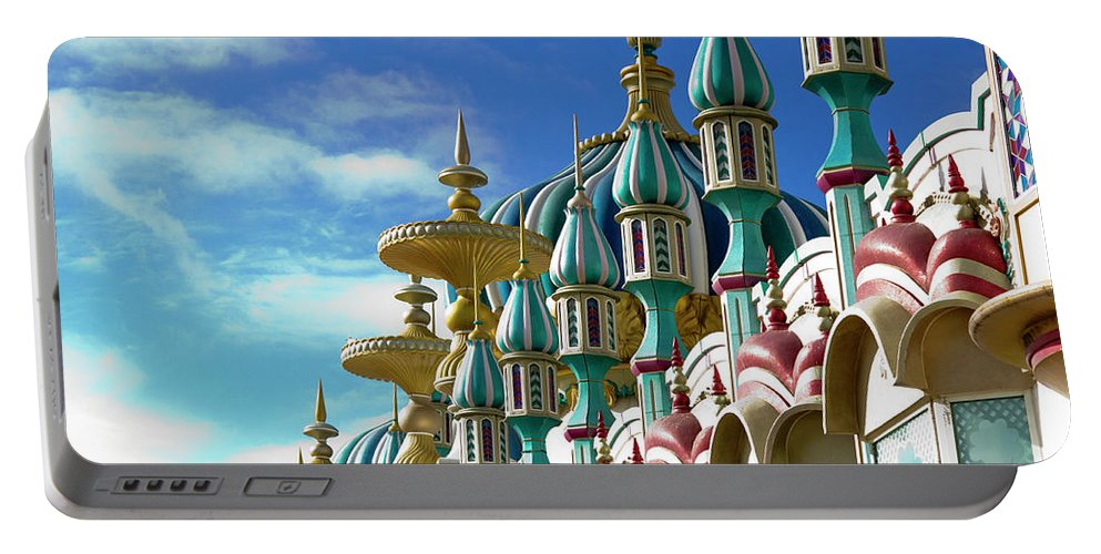 Architecture Portable Battery Charger featuring the photograph Tai Mahal Casino Atlantic City by Chuck Kuhn