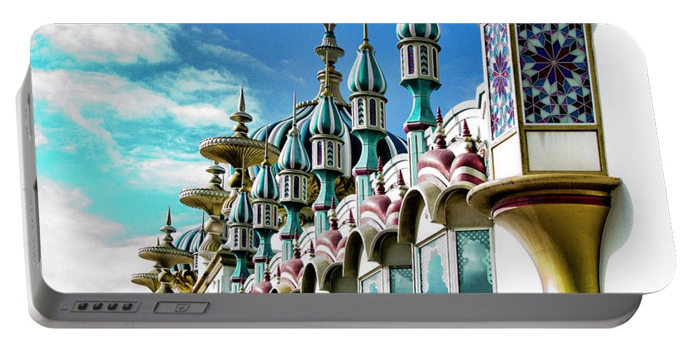 Architecture Portable Battery Charger featuring the photograph Tai Mahal Casino Trump by Chuck Kuhn