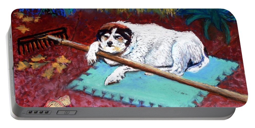 Dog Portable Battery Charger featuring the painting Take A Break by Minaz Jantz