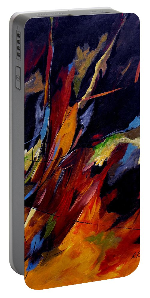 Abstract Portable Battery Charger featuring the painting Take Action by Ruth Palmer