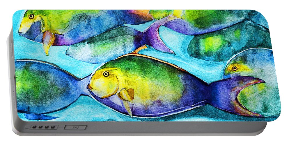 Fish Portable Battery Charger featuring the painting Take Care Of The Fish by Barbara McMahon