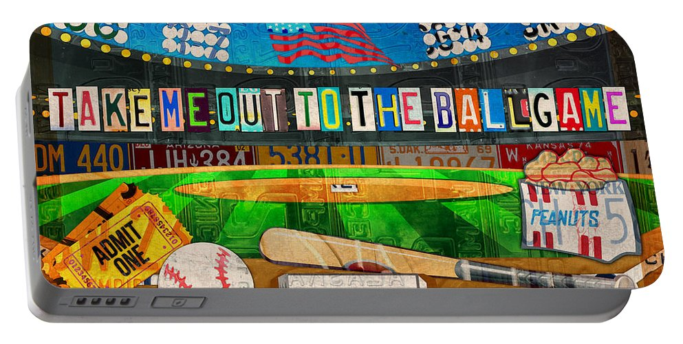 Take Me Out To The Ballgame Portable Battery Charger featuring the mixed media Take Me Out To The Ballgame Recycled Vintage License Plate Art Collage by Design Turnpike