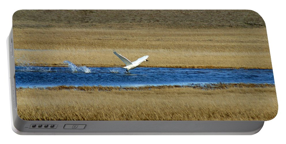 Swan Portable Battery Charger featuring the photograph Take Off by Anthony Jones