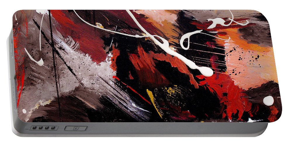 Abstract Portable Battery Charger featuring the painting Take To Heart by Ruth Palmer