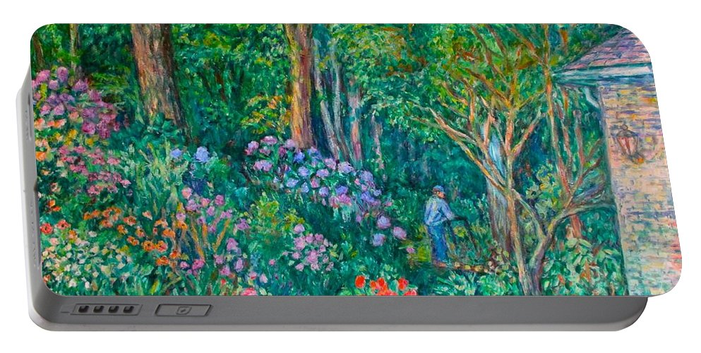 Suburban Paintings Portable Battery Charger featuring the painting Taking A Break by Kendall Kessler