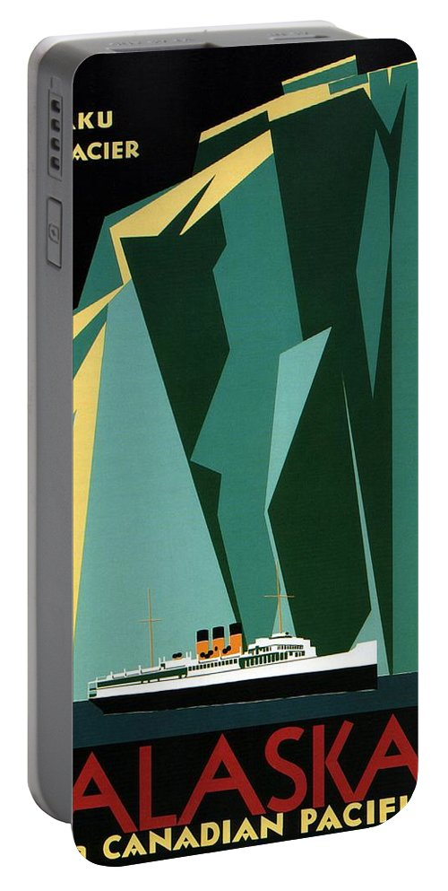 Taku Glacier Portable Battery Charger featuring the mixed media Taku Glacier - Alaska - Canadian Pacific Steamship - Retro Travel Poster - Vintage Poster by Studio Grafiikka
