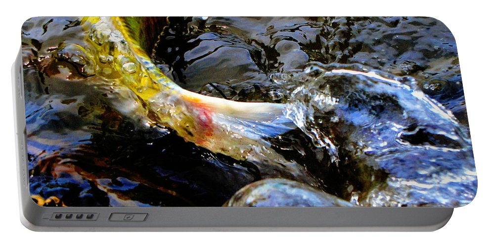 Koi Portable Battery Charger featuring the photograph Tale Of The Wild Koi by September Stone