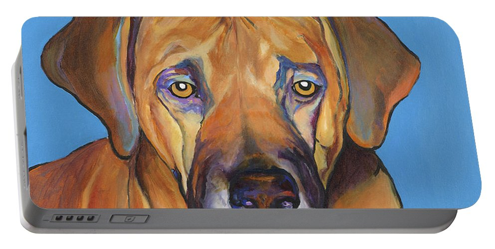 Rhodesian Ridgeback Dog Ridgeback African Colorful Orange Gold Yellow Red Portable Battery Charger featuring the painting Talen by Pat Saunders-White