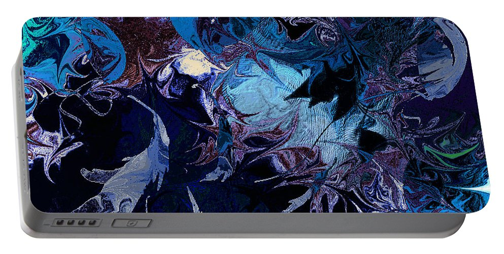 Abstract Portable Battery Charger featuring the digital art Tales In A Moonlit Wood by Rachel Christine Nowicki