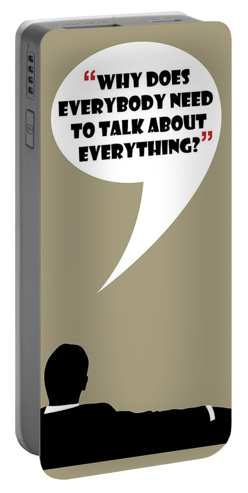 Don Draper Portable Battery Charger featuring the painting Talk About Everything - Mad Men Poster Don Draper Quote by Beautify My Walls