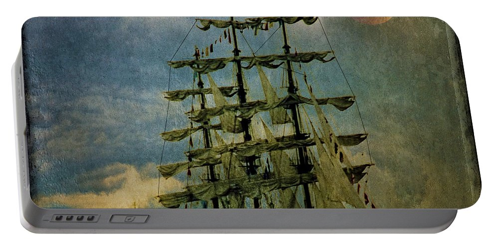 Tall Ship Portable Battery Charger featuring the photograph Tall Ship New York Harbor 1976 by Chris Lord