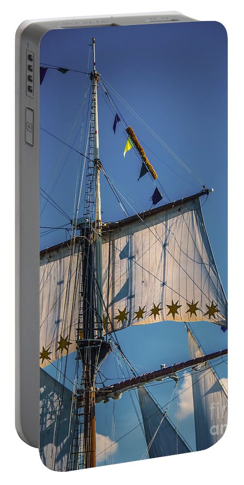 Photography Portable Battery Charger featuring the digital art Tall Ship Sails 4 by Kathryn Strick