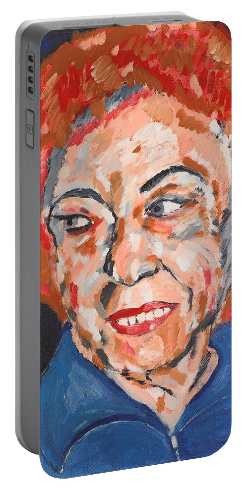 Portrait Portable Battery Charger featuring the painting Tamara by Valerie Ornstein