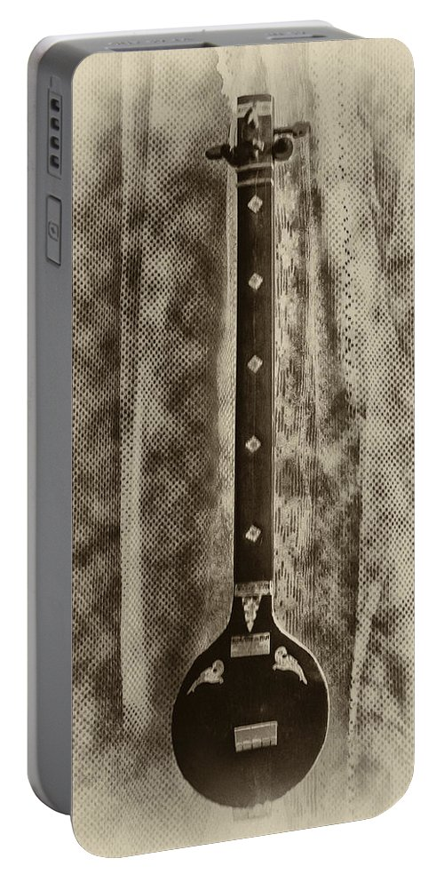 Psychedelic Portable Battery Charger featuring the photograph Tambura In Black And White by Bill Cannon