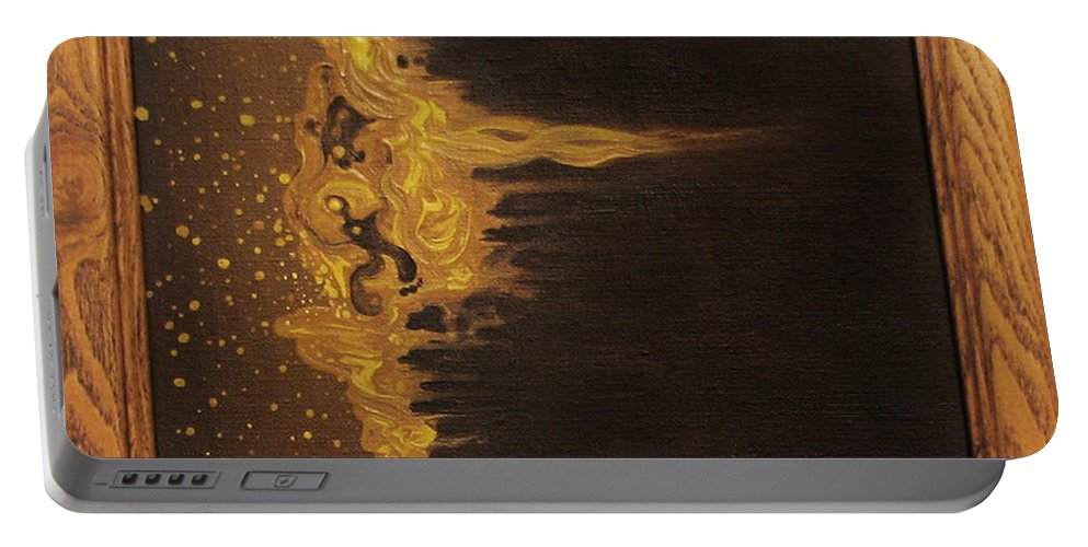Abstract Orange Yellow Brown People Particles Portable Battery Charger featuring the painting Tang And Teflon by Beth Waltz