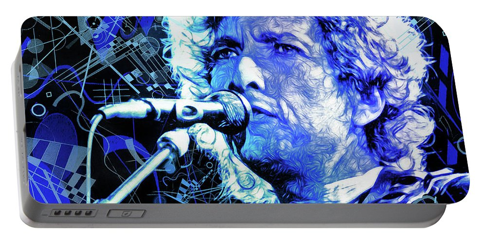 Bob Dylan Portable Battery Charger featuring the mixed media Tangled up in Blue, Bob Dylan by Mal Bray