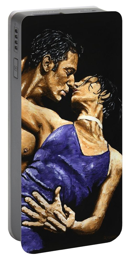 Couple Portable Battery Charger featuring the painting Tango Heat by Richard Young