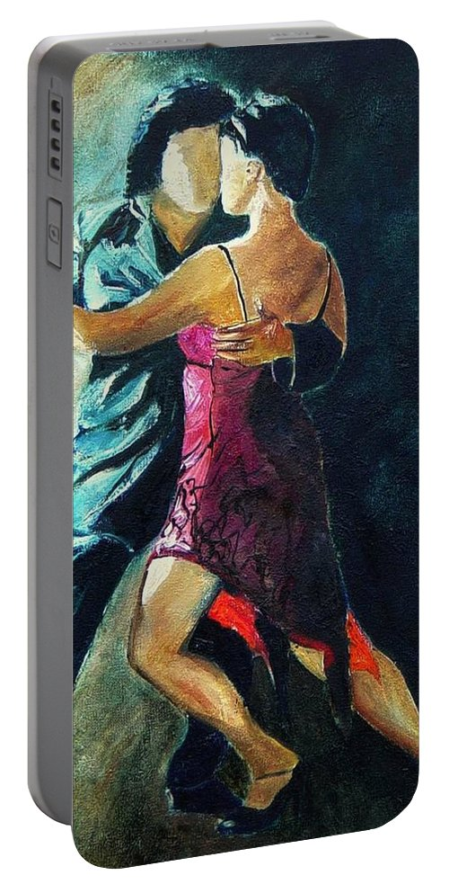 Tango Portable Battery Charger featuring the painting Tango by Pol Ledent