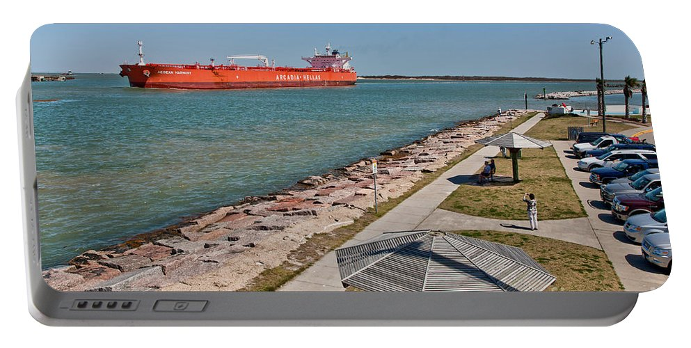 Tanker Portable Battery Charger featuring the photograph Tanker Transporting Crude Oil by Inga Spence
