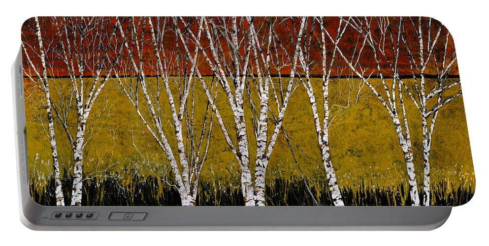 Birches Portable Battery Charger featuring the painting Tante Betulle by Guido Borelli