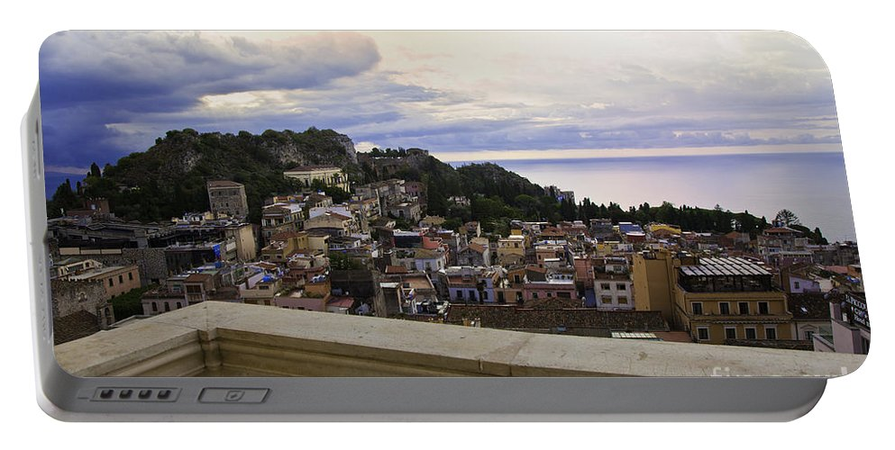 Taormina Portable Battery Charger featuring the photograph Taormina Balcony View 2 by Madeline Ellis