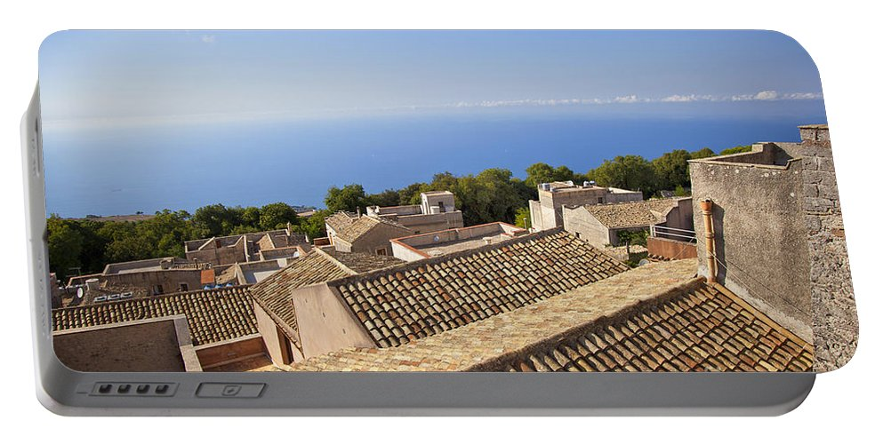 Rooftops Portable Battery Charger featuring the photograph Taormina Rooftops by Madeline Ellis