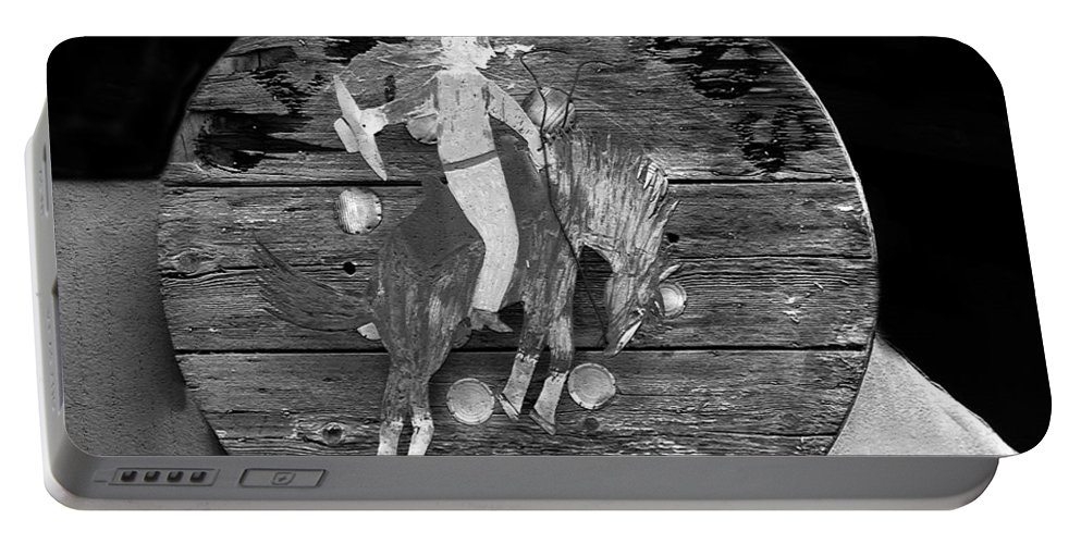 Tao Portable Battery Charger featuring the painting Taos Lightning by David Lee Thompson