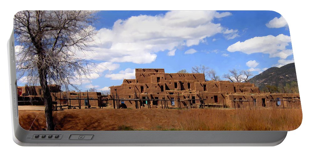 Taos Portable Battery Charger featuring the photograph Taos Pueblo Early Spring by Kurt Van Wagner