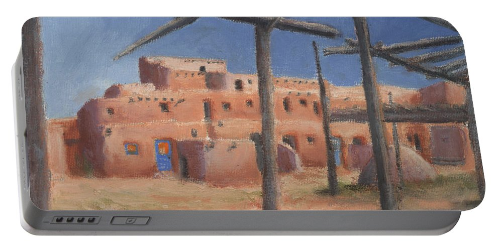Taos Portable Battery Charger featuring the painting Taos Pueblo by Jerry McElroy
