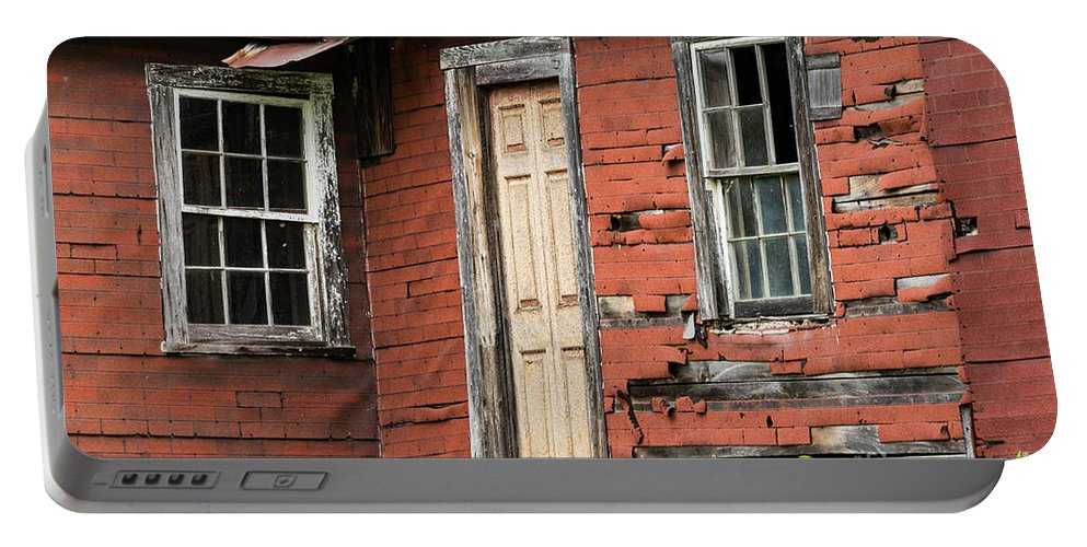 New Castle Virginia Tar-paper House Houses Structure Structures Home Homes Building Buildings Texture Textures Window Frame Windows Architecture Ruin Ruins Door Doors Portable Battery Charger featuring the photograph Tar-paper House Door And Windows by Bob Phillips