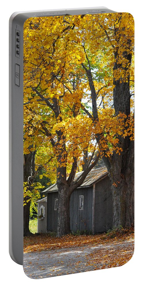 Autumn Portable Battery Charger featuring the photograph Tar Paper Shack by Tim Nyberg