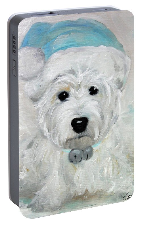 Westie Portable Battery Charger featuring the painting Tarheel Santa by Mary Sparrow