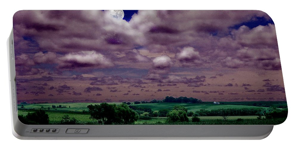 Landscape Portable Battery Charger featuring the photograph Tarkio Moon by Steve Karol