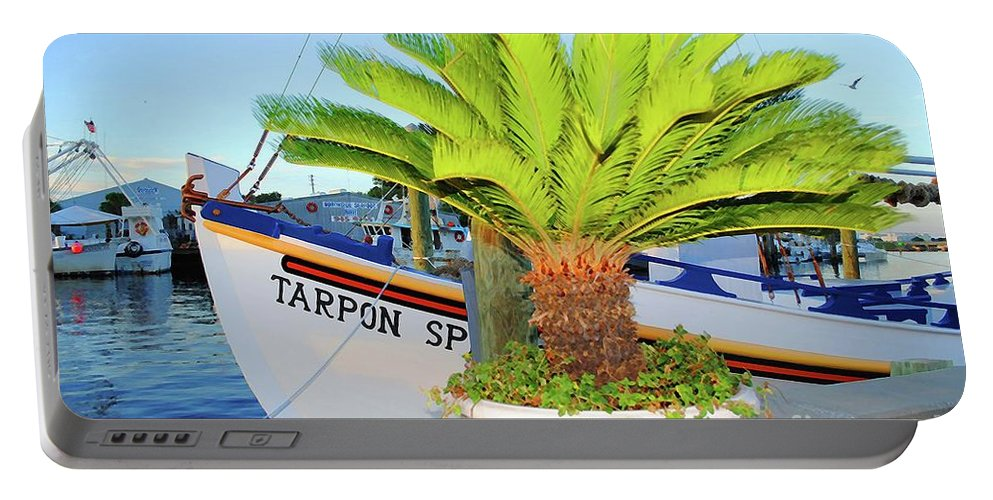 Tarpon Springs Portable Battery Charger featuring the photograph Tarpon         Tarpon Palm                   by Jost Houk